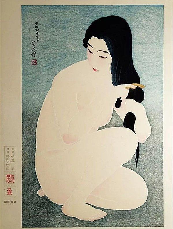 Torii Kotondo - Combing the Hair, Arte em Gravura Japonesa, Xilogravura Original, 1980