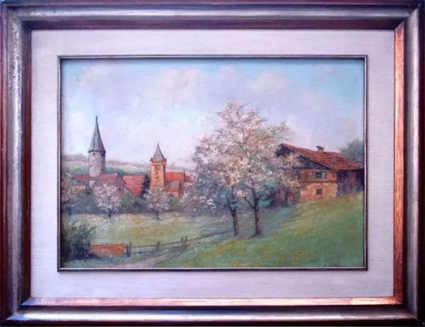R. Kiener - Quadro, Arte em Pintura Óleo S/ Eucatex, Paisagem Européia