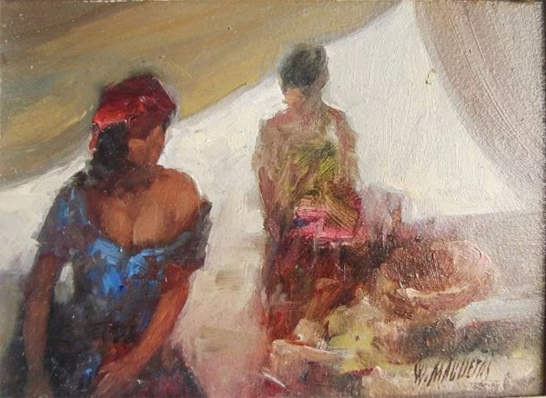 Washington Maguetas - Quadro, Arte em Pintura, Óleo S/ Eucatex, Assinada, Figuras Femininas