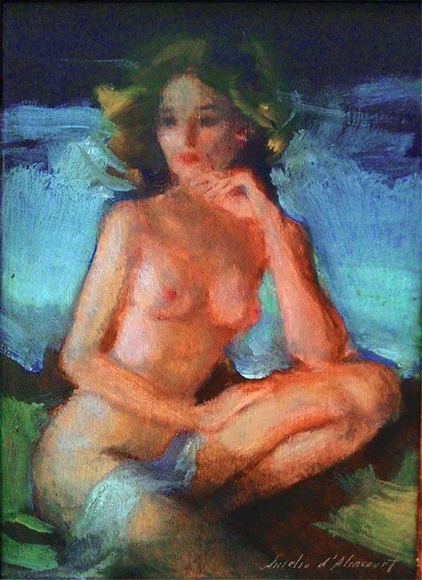 Aurélio D'alincourt - Nu Feminino, Quadro Arte em Pintura Original, Óleo S/ Eucatex, Assinada