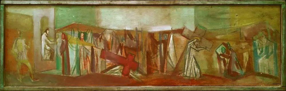 Arte Sacra, Quadro com Antiga Pintura, Técnica Mista Sobre Madeira, Via Crucis, Estilo Portinari