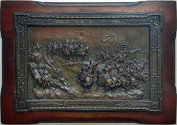 Antiga Placa de Metal - Imagem O Grito do Ipiranga de Pedro Américo, Emoldurada