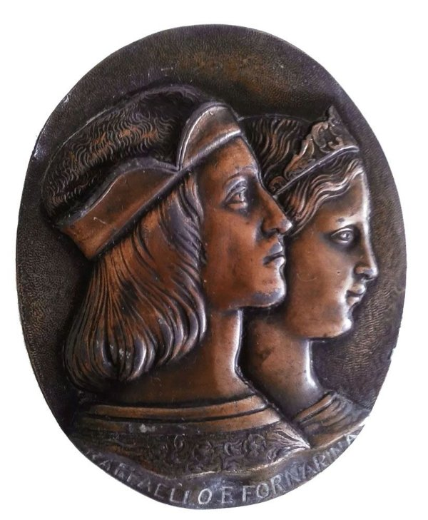 Medalhão de Metal - Placa em Bronze c/ Relevo, Efigie de Raffaello e Fornarina