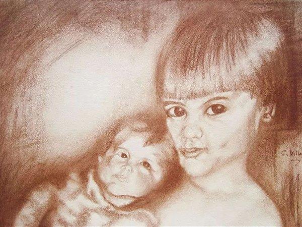 Carlos Villar - Quadro, Arte em Desenho Assinado, Crayon sobre Papel, Crianças