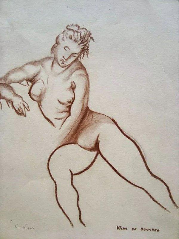 Carlos Villar - Quadro, Arte em Desenho Assinado, Crayon, Vênus de Boucher