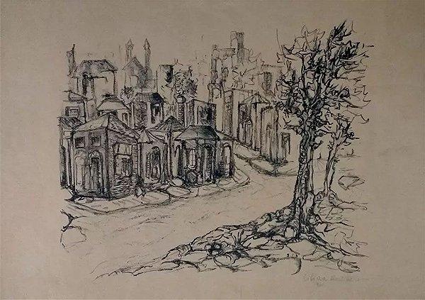 Lilian Montebello - Quadro, Arte em Desenho Original, Carvão S/ Papel, Paisagem Urbana, 1961