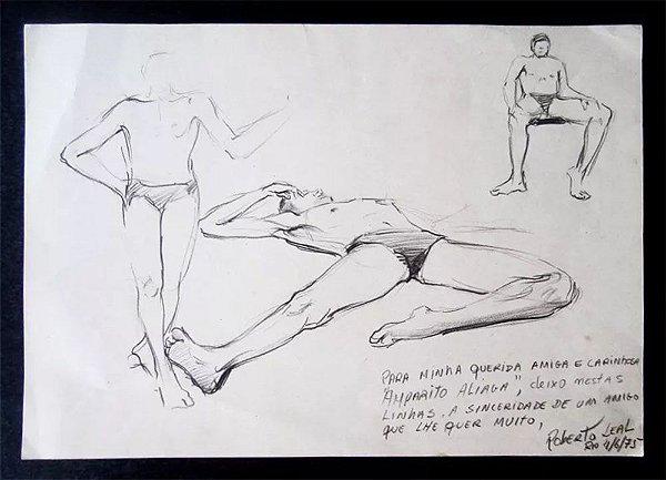 Roberto Leal - Quadro, Arte em Desenho a Lápis, Assinado com Dedicatória, Figuras Masculinas, 1975
