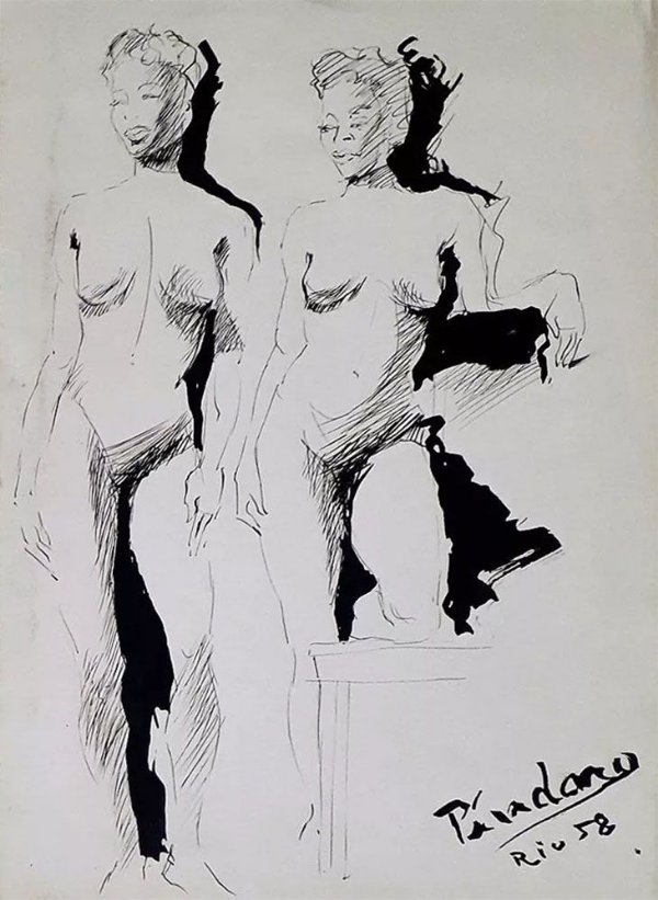 Píndaro Castelo Branco - Quadro, Arte em Desenho na Técnica Nanquim, Mulheres Nuas, 1958