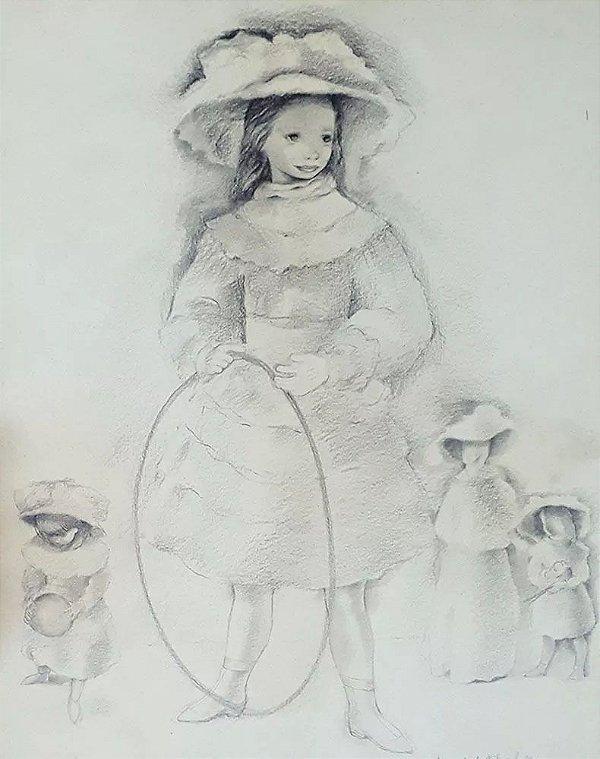 Mariette Lydis - Quadro, Arte em Desenho Original, Assinado, Técnica Grafite, Jogos de Meninas