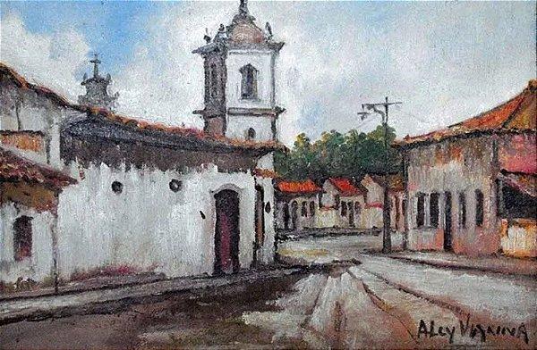 Alcy Vianna - Quadro, Arte em Pintura, Óleo S/ Eucatex, Assinada, Temática Casario e Igreja