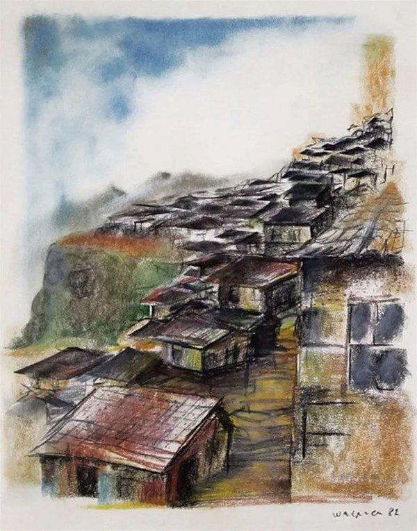 Quadro, Arte em Pintura Original, Casario, Pastel S/ Cartão, Assinado, 1982