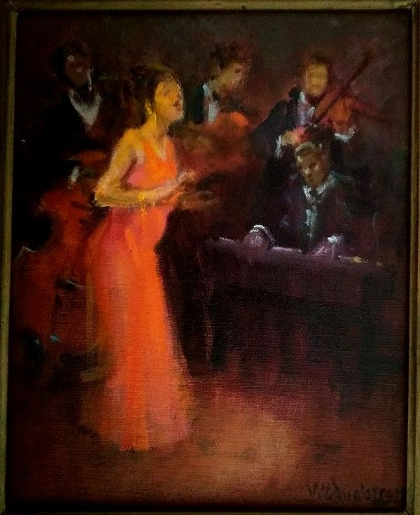 Menase Vaidergorn - Pintura Óleo sobre Tela Jazz, Conjunto Musical Assinado 52 x 46, Emoldurado