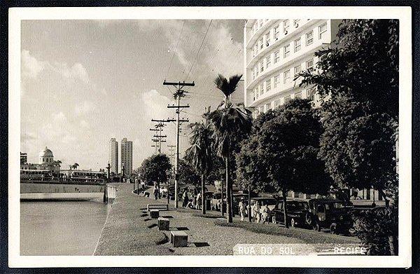 Recife - Pernambuco - Rua Do Sol, Cartão Postal Antigo Original de 1958