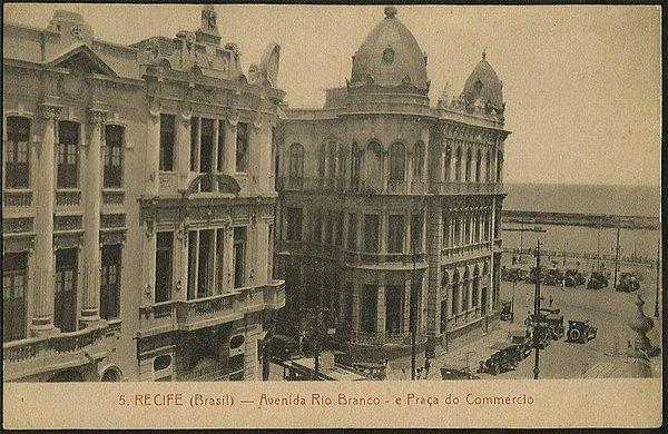 Recife - Pernambuco - Av. Rio Branco e Praça do Comercio, Cartão Postal Antigo Tipográfico Original