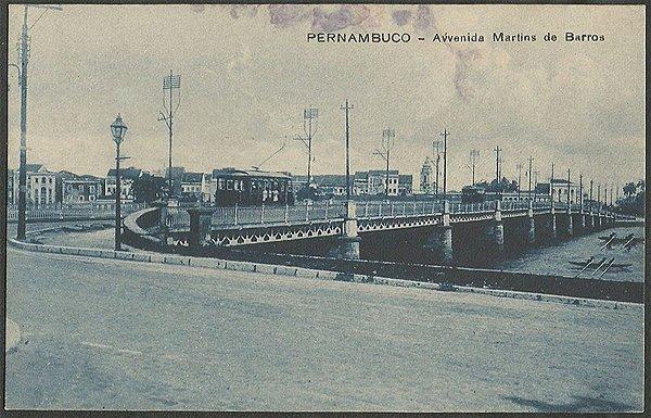 Recife - Pernambuco - Av. Martins de Barros, Cartão Postal Antigo Tipográfico