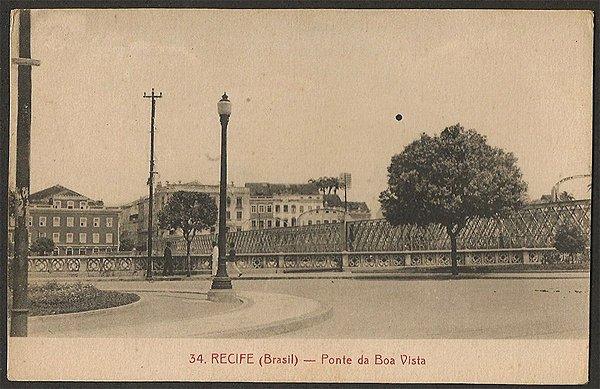 Recife - Pernambuco - Ponte da Boa Vista, Cartão Postal Antigo Tipográfico