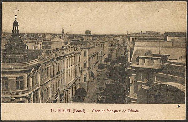 Recife - Pernambuco - Avenida Marques de Olinda, Cartão Postal Antigo Tipográfico