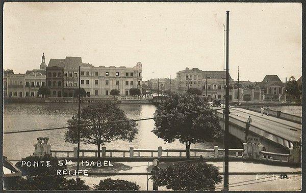 Recife - Pernambuco - Ponte Santa Isabel, Cartão Postal Antigo Fotográfico