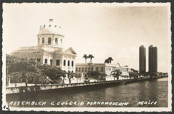 Recife - Pernambuco - Assembleia e Colégio , Cartão Postal Antigo Fotográfico