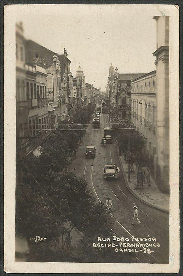 Recife - Pernambuco -  Rua João Pessoa, Cartão Postal Antigo com Carros e Bondes