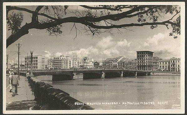 Recife - Pernambuco - Ponte Mauricio de Nassau, Cartão Postal Fotográfico Antigo Original