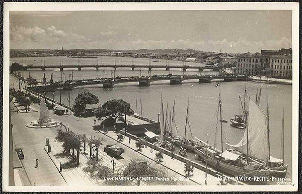 Recife - Pernambuco - Cais Martins Barros, Cartão Postal Fotográfico Antigo Original