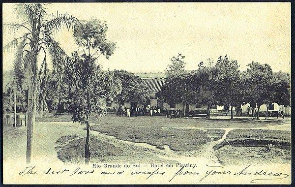Rio Grande do Sul - Hotel em Piratini, Cartão Postal Tipográfico Antigo Original de 1904