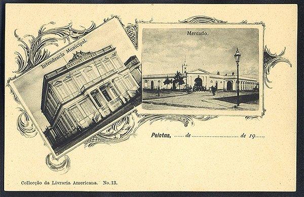 Rio Grande do Sul - Pelotas, Multiview Mercado e Intendência Municipal, Cartão Postal Tipográfico Antigo Original