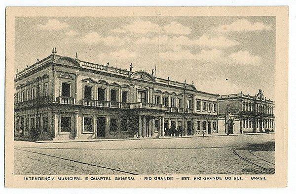 Rio Grande do Sul - Rio Grande - Intendencia Municipal e Quartel General, Cartão Postal Tipográfico Antigo Original