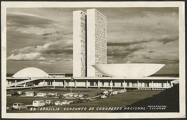 Brasília -Conjunto do Congresso Nacional - Cartão Postal Fotográfico Antigo Original