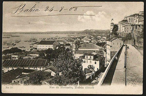 Bahia  - Rua da Montanha - Cartão Postal Tipográfico Antigo Original de 1908