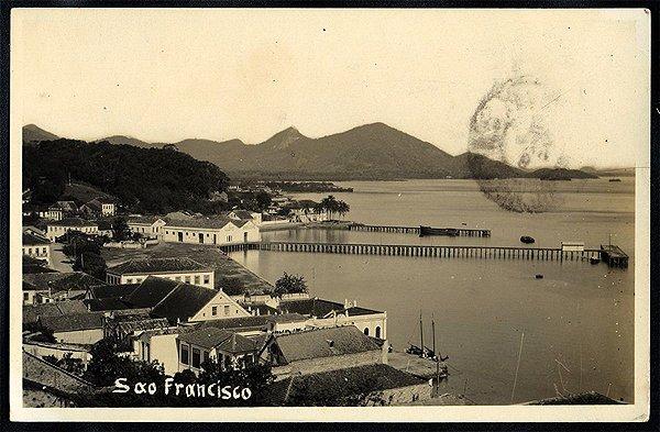 Santa Catarina - São Francisco - Cartão Postal Fotográfico Antigo Original de 1934