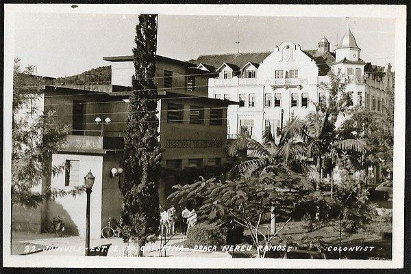 Santa Catarina - Joinville, Praça Nereu Ramos - Cartão Postal Fotográfico Antigo Original
