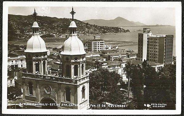 Santa Catarina -Florianópolis, Praça 15 de Novembro - Cartão Postal Fotográfico Antigo Original