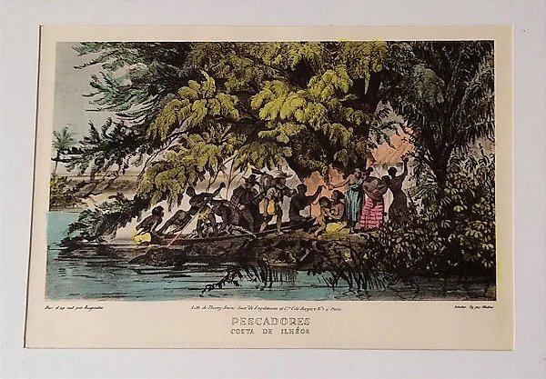 Litografia Original 1835 Rugendas - Pescadores - Colorizado Por Hannah Brandt