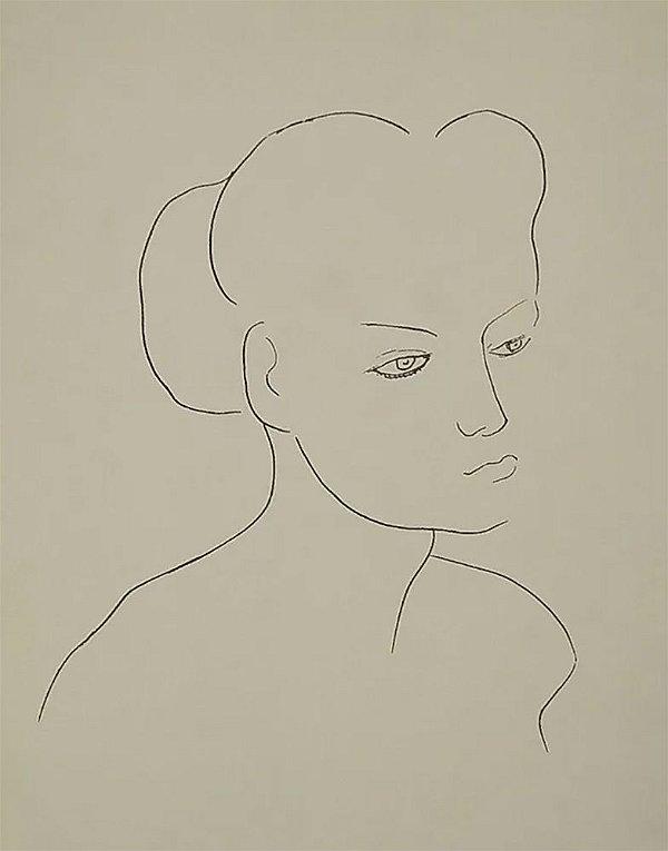 Ado Malagoli - Serigrafia Original Assinada - Perfil de  Mulher