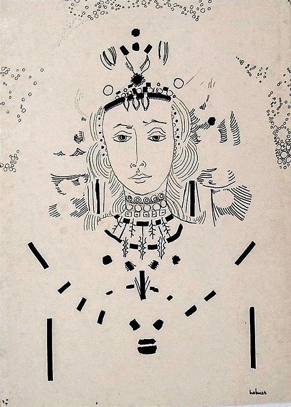 Holmes Neves - Desenho a Nanquim - Figura de Mulher, Rainha