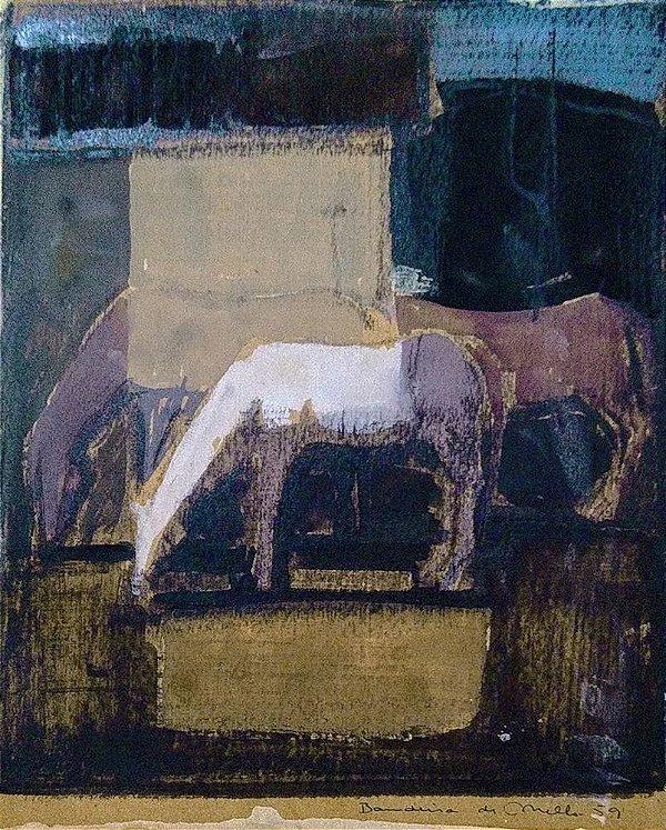 Lydio Bandeira De Mello - Cavalos, Pintura em Técnica Mista datada 1959