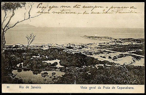 Rio de Janeiro - Vista Geral de Copacabana 1908 - Cartão Postal Antigo Original