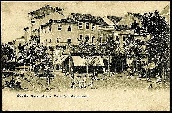 Pernambuco, Recife - Praça da Independência - Cartão Postal Antigo Original