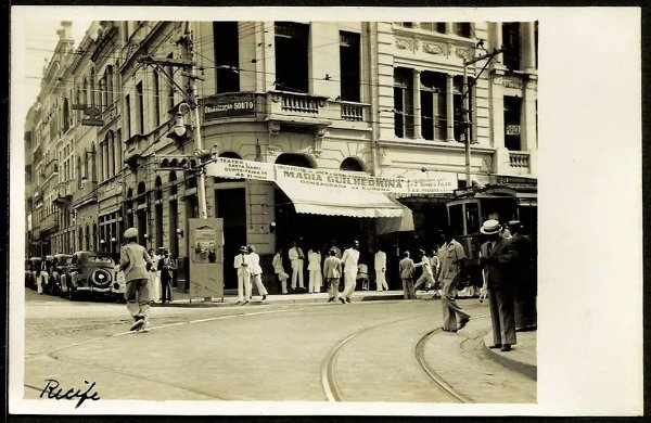 Pernambuco, Recife, Centro - Bonde e Pedestres - Cartão Postal Antigo Original