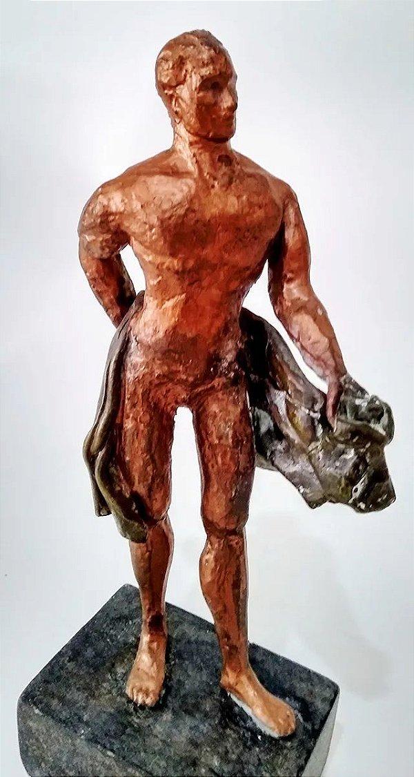 Escultura em Bronze Patinado - Homem Nu - Modernismo