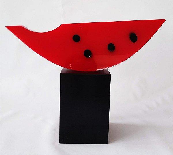 Chico Niedzielski - Escultura Geométrica Melancia em Acrílico, Assinada