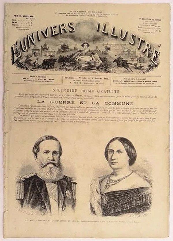 Dom Pedro II - Antigo Jornal Francês L'Univers Illustré, Original de 1872
