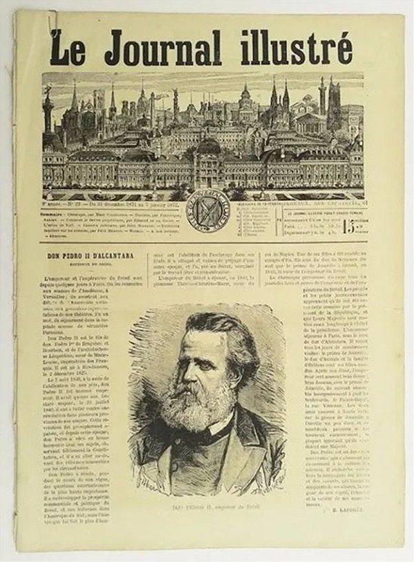 Dom Pedro - Jornal Francês Ilustré Original De 1872, Matéria de Capa Sobre o Imperador