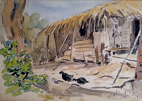 Valle Junior - Pintura em Técnica Mista, Cena Rural