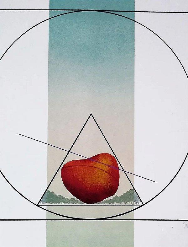 Donato Silveira - Gravura Original, Geométrico com Maçã