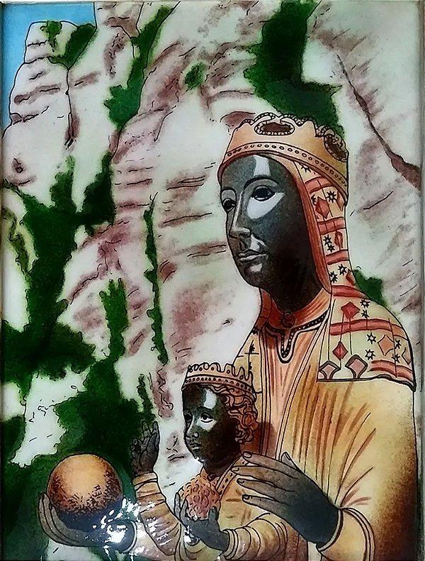 Ícone Religioso - Quadro da Virgem Negra de Montserrat - Pintura em Esmalte