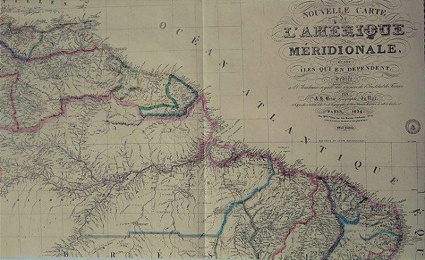 Mapa do Brasil, Original de 1834,  Amerique Meridional, Editado na França