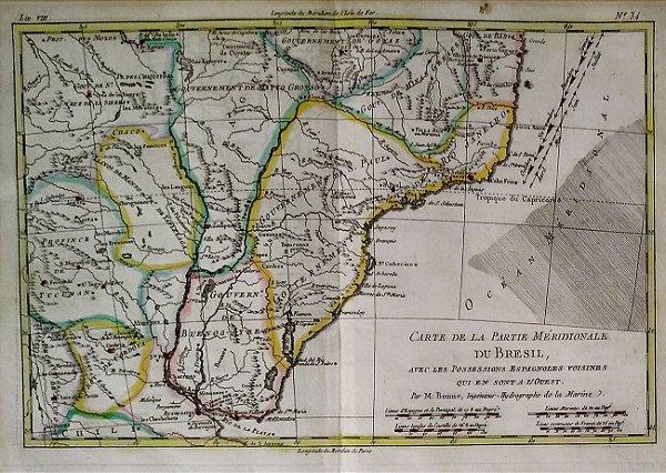 Mapa Do Brasil Original De 1781, Colorizado a Mão, Editado Na França